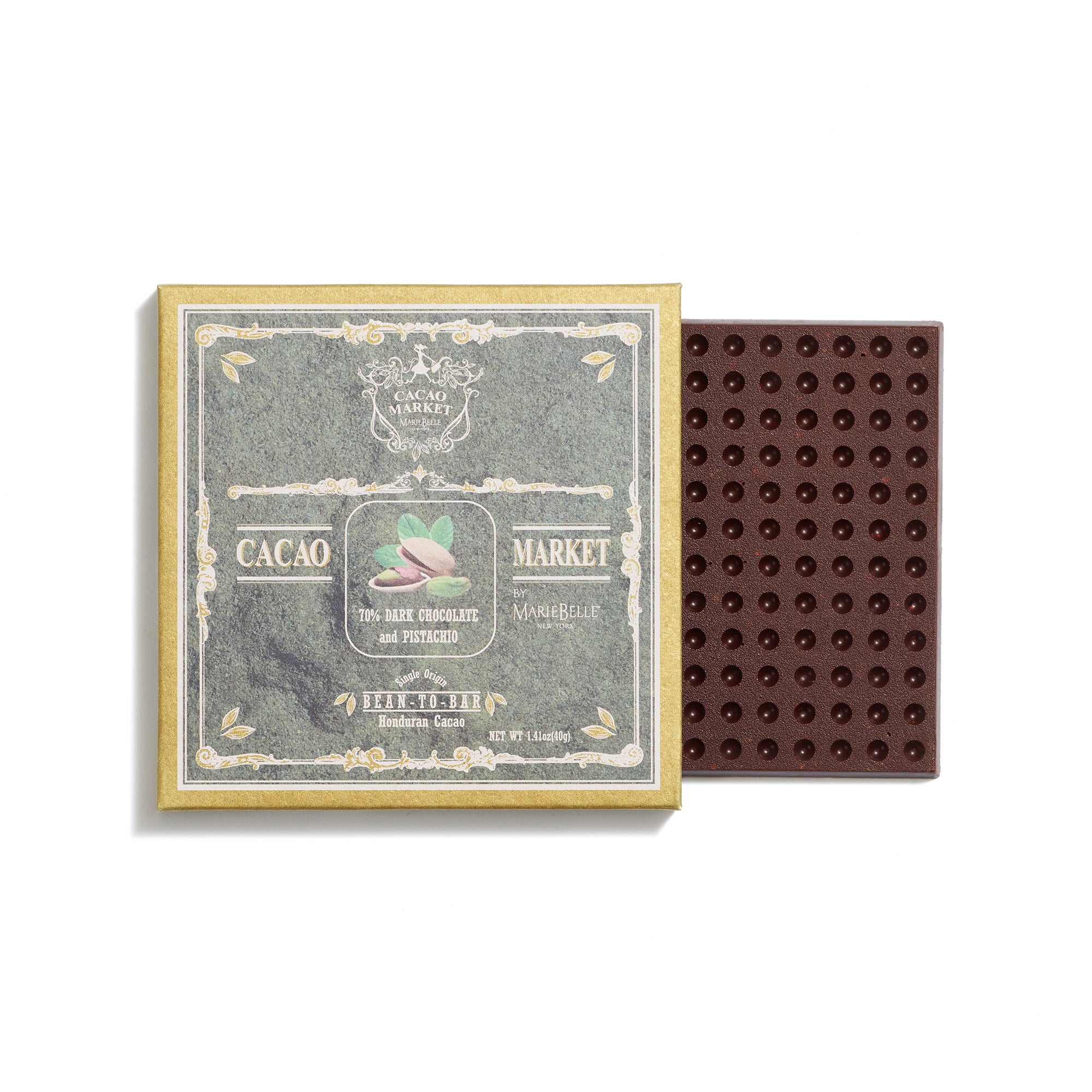 40g 72% Dark Chocolate with Pistachio Bar