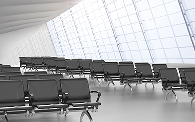 How do you highlight the comfort and ergonomics of airport waiting seats?