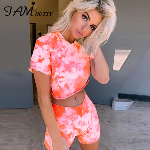 IAMHOTTY Tie Dye Basic Tshirt Shorts Women Casual Outfits Crop Top Two Peices Set Women Jogging Biker Tracksuit Sets Summer 2020