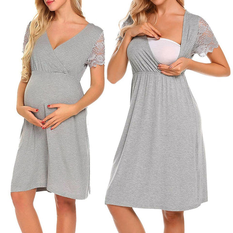 Women's Dresses 2020 Summer Women's Pregnancy V Collar Short Sleeve Dress Maternity Solid Color Sundress Cotton Clothes for Women