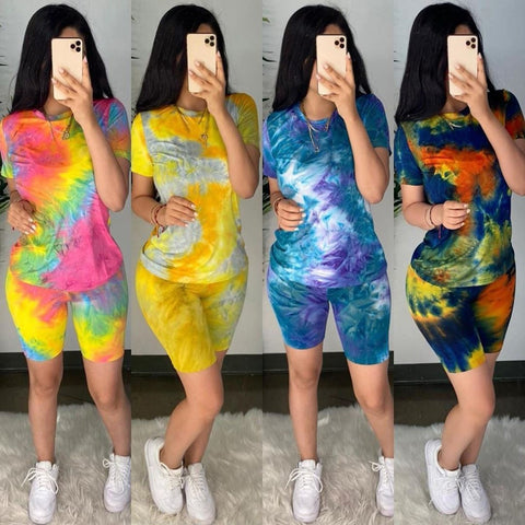 Casual Tie Dye Two Piece Set Women Tracksuit Fashion Summer Top and Biker Shorts Matching Sets Outfits Sportswear New
