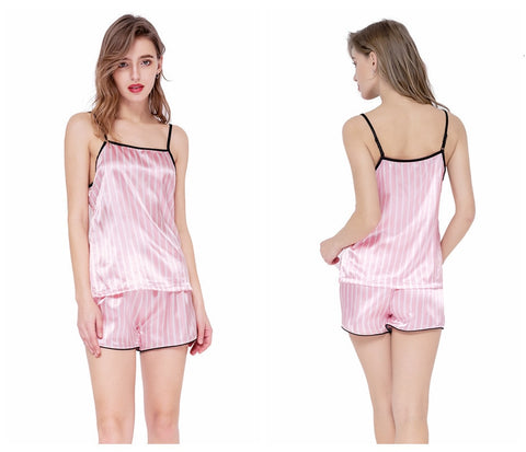 JULY'S SONG Pink Women's 7 Pieces Pajamas Sets Faux Silk Striped Pyjama Women Sleepwear Sets Spring Summer Autumn Home wear