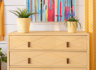 Dresser Transformation with Mod Mustard Milk Paint by Fusion