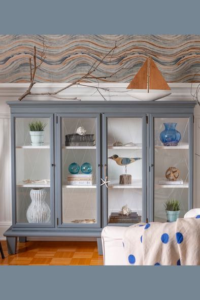 Upcycling a China Cabinet into a Display Case using Coastal Blue Milk Paint by Fusion