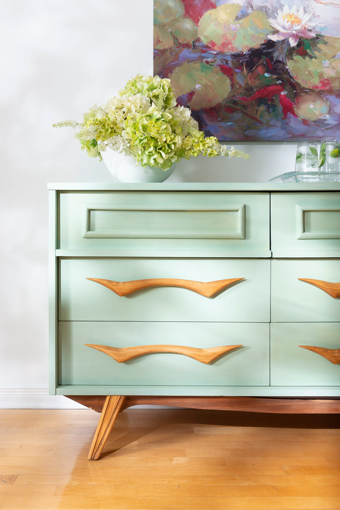 Mid-Century Modern Sideboard painted in Mojito Milk Paint by Fusion