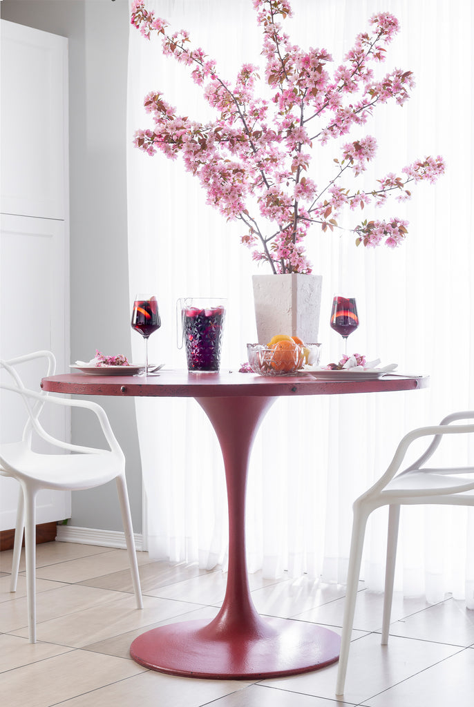 Round Table with a Steel Base Upcycled with Sangria Milk Paint
