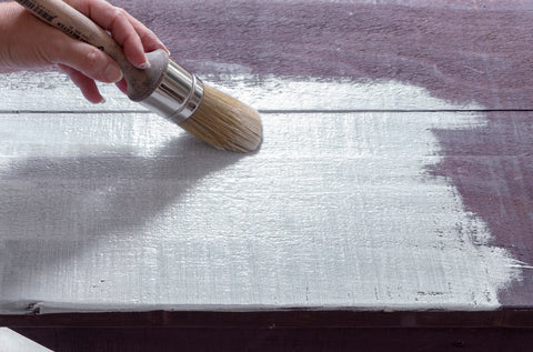 Milk Paint soaking into the raw wood - Milk Paint by Fusion