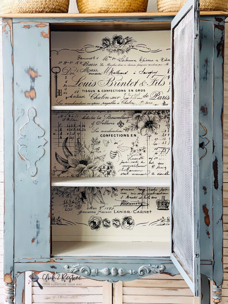 Vintage Hutch painted in Coastal Blue and Hotel Robe