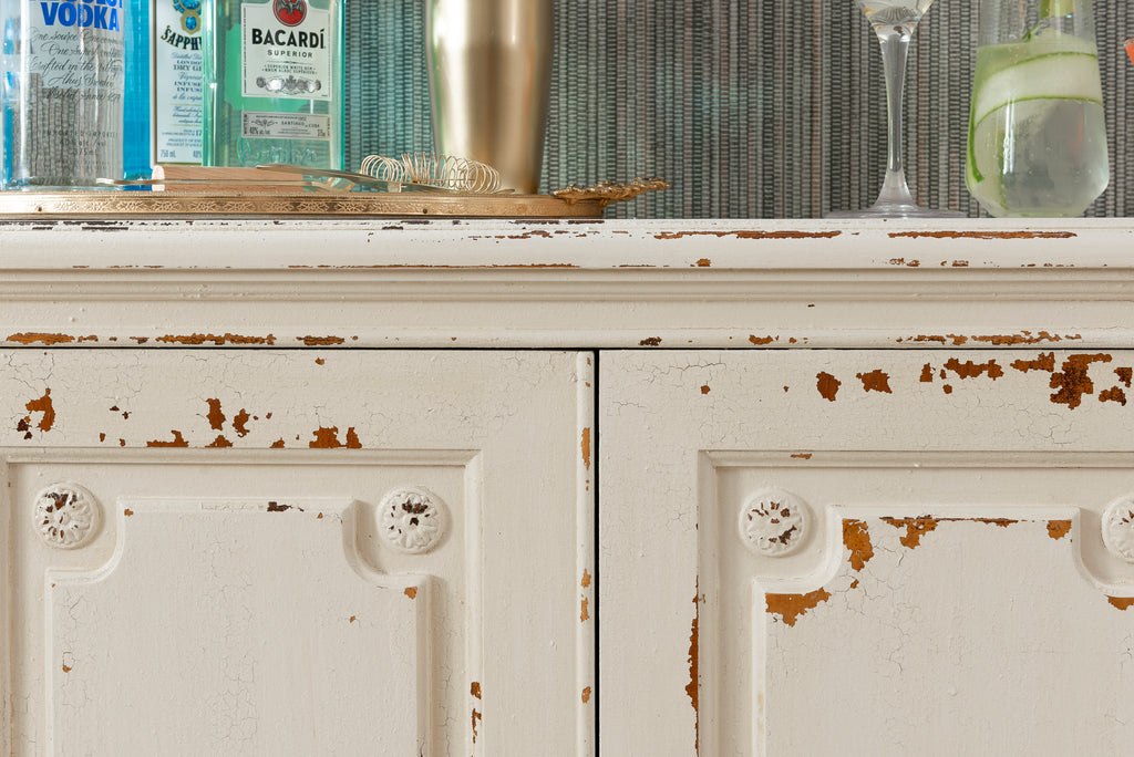 Chippy Chic Finish Bar Cabinet Makeover With London Fog