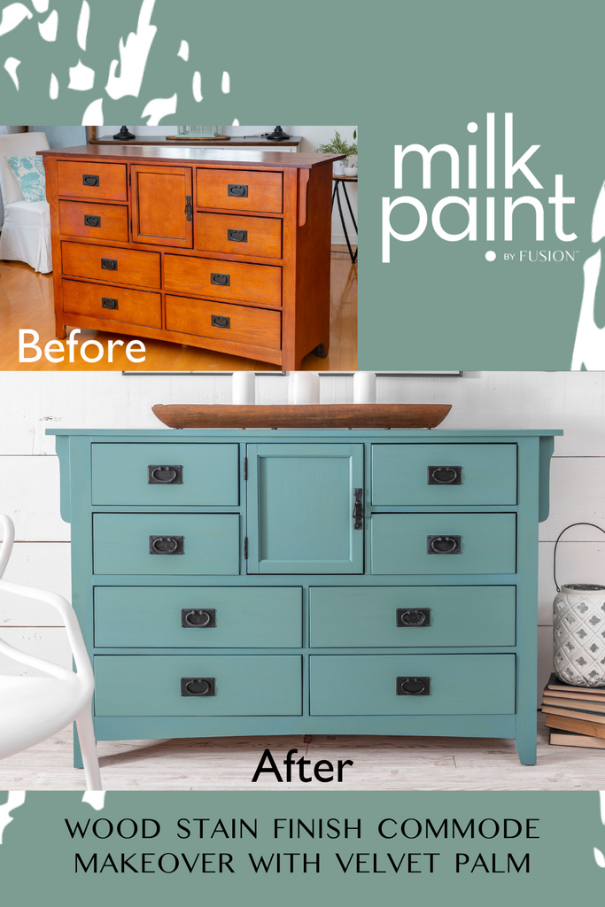 Wood Stain Finish Commode Makeover with Velvet Palm