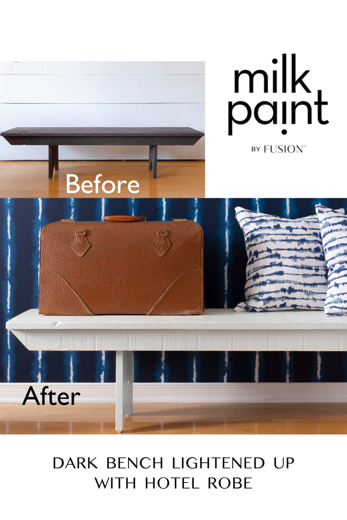 Rustic bench makeover with a white wash Hotel Robe Milk Paint