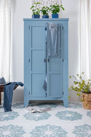 Full view of Skinny Jeans Milk Painted Armoire - Milk Paint by Fusion