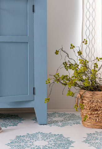 Right corner Skinny Jeans painted armoire with bright fresh green plant - Milk Paint by Fusion