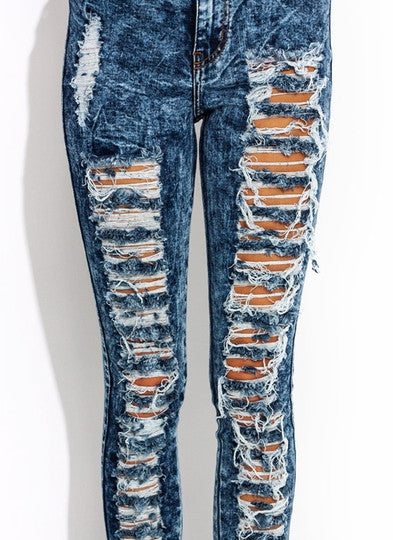 High-Waisted Distressed Jeans