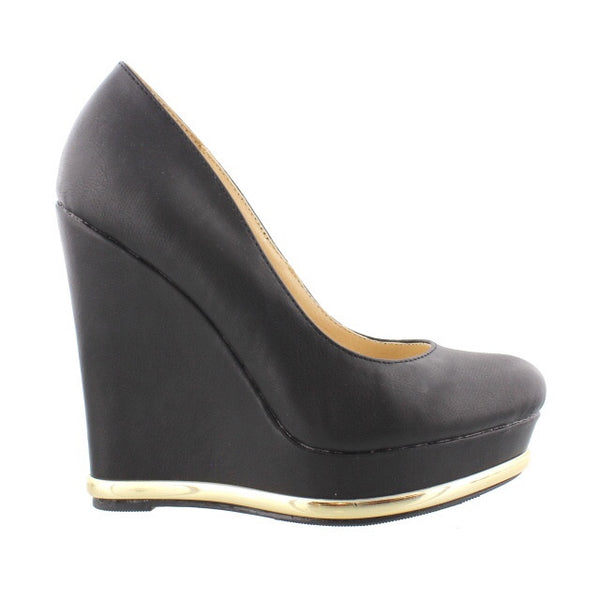 Gold Bottom Wedge Black
