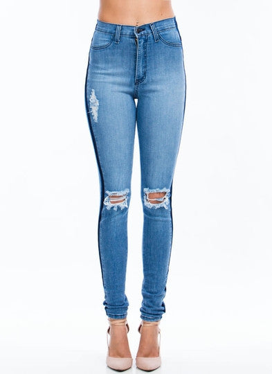 Deep Destroyed Skinny Jeans