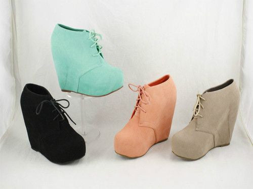 Women Lace UP Wedge Bootie