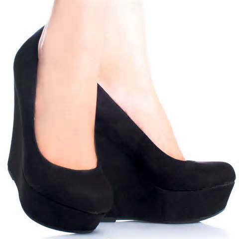 Black Suede Round Toe Wedge