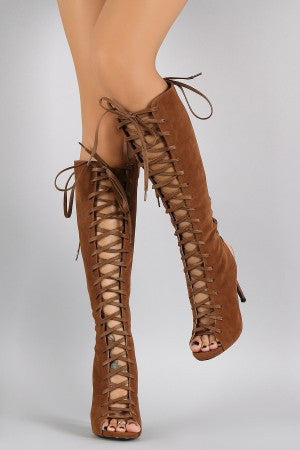Corset Lace Up Knee High Boots