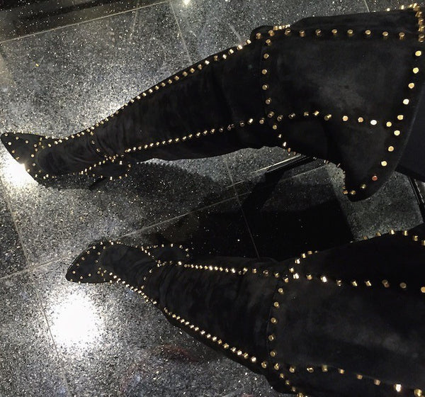 Studded Thigh High Boots
