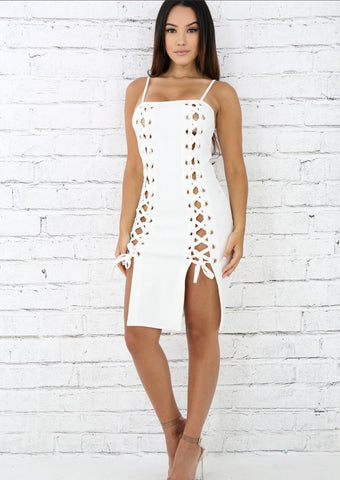 String Up Dress In White