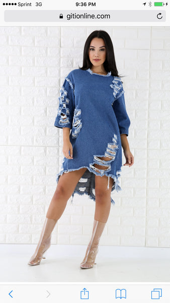 Denim Ripped Tunic
