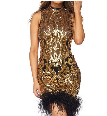 Feather Sequin Dress