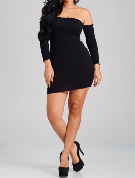 Off Shoulder Knit Dress Black