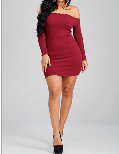 Off Shoulder Knit Dress Burgundy