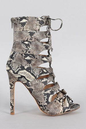 Kiesha Caged Laced Up Heel Pythons
