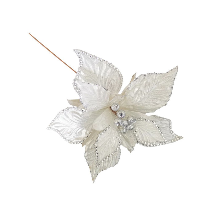 White and Silver Beaded Flower Pick
