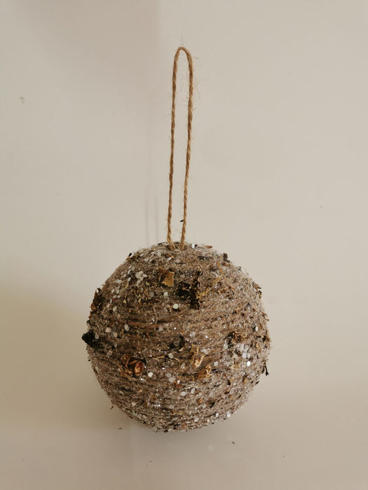 Sequined Hemp Rope Ball Ornaments - Small