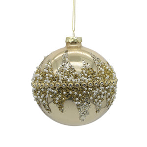 Gold Glass Ball Tree Ornament with Crystals
