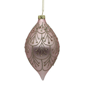 Pink Glass Drop Tree Ornament