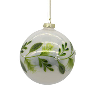 White and Green Glass Ball Tree Ornament