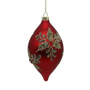Red and Gold Glass Drop Tree Ornament: Style 2