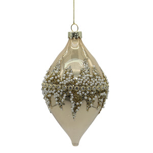 Gold Glass Drop Tree Ornament with Crystals