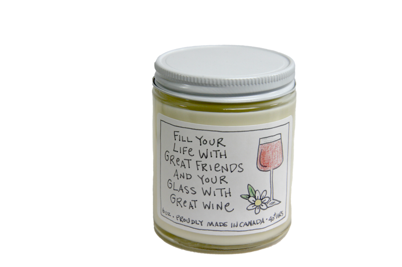 Fill Life Your Life With Great Friends Candle Chardonnay & merlot.