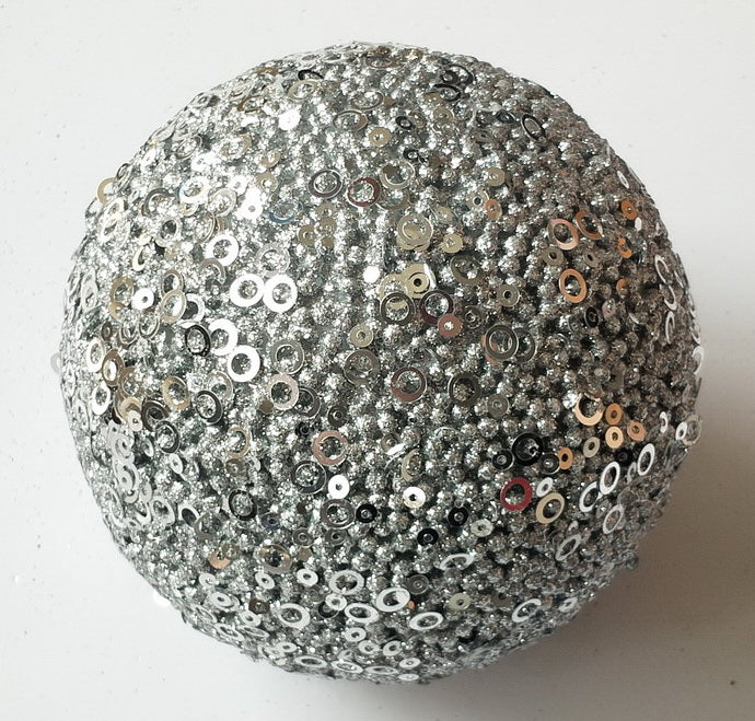 Silver Ornamental Ball - 10cm