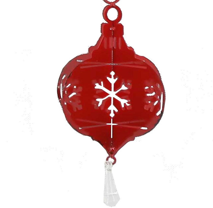Red Ornament w/ Snowflakes: Circular