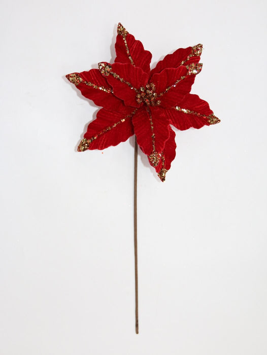 Velvet Red and Gold Poinsettia Pick