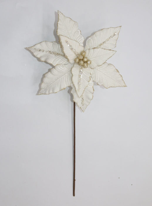 Ivory and Gold Poinsettia Pick
