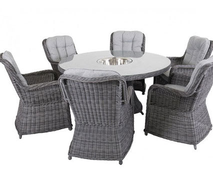 Hastings Dining Set - 6 Chairs, Lazy Susan W Ice Bucket
