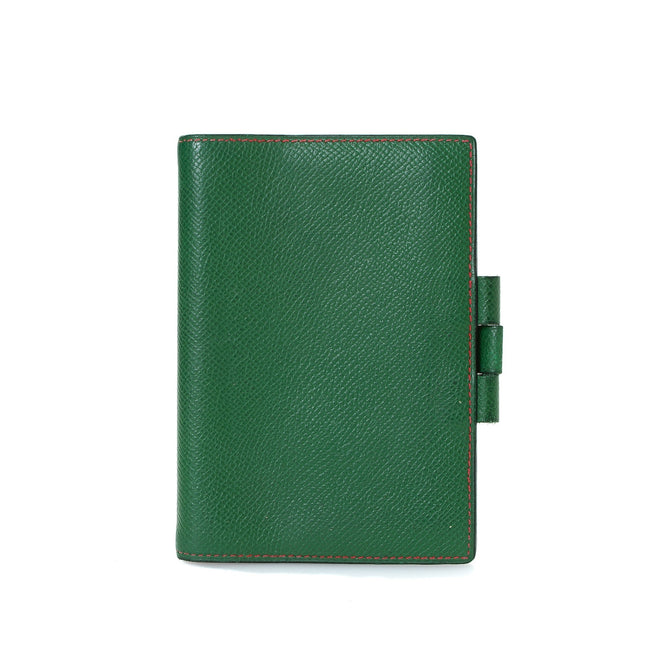 Hermes Green Leather Agenda Cover PM Wallet
