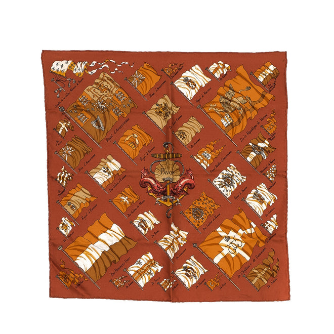 Hermes Orange Pavois Burnt Silk Scarf