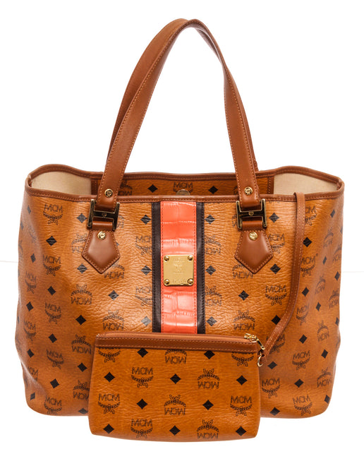 MCM Orange Shopper Shoulder Bag