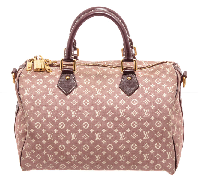 Louis Vuitton Pink Canvas Leather Speedy 30 Satchel Bag