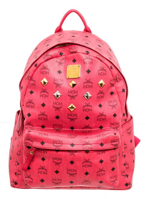 MCM Red Leather Stud Backpack