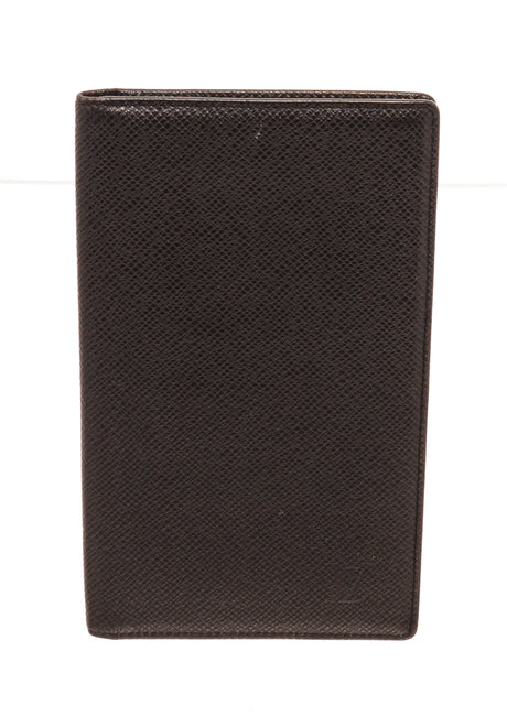 Louis Vuitton Black Canvas Leather Porte Long Card Wallet