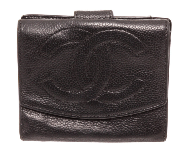 Chanel Black Leather Compact Tab Wallet